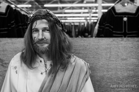 A black and white photo of Our Lord, Jesus Christ in full costume and thorn crown at the rehearsal of the Holy Blood Procession in Brugge, Belgium 2015