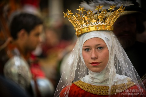 The virgin Maria Magdalena in full costume and crown at the rehearsal of the Holy Blood Procession in Brugge, Belgium 2015