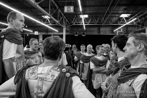 A black and white photo of the knights practising at the rehearsal of the Holy Blood Procession in Brugge, Belgium 2015