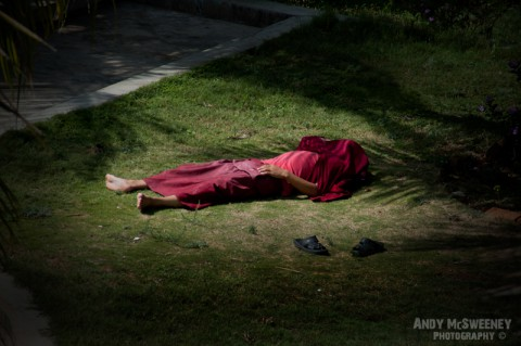 Monk in robe taking siesta in the grass in the monastery of Bylakuppe, South-India