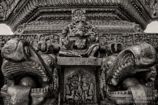 Black and white photo of the Shiva cart with dragons and Ganesh statue during the Shivaratri festival in Gokarna, South-India