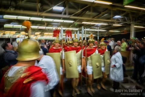 The army of knights waiting to go at the rehearsal of the Holy Blood Procession in Brugge, Belgium 2015