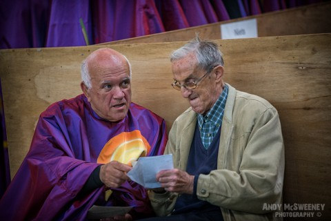A moment captured between a figurant and an old person at the rehearsal of the Holy Blood Procession in Brugge, Belgium 2015