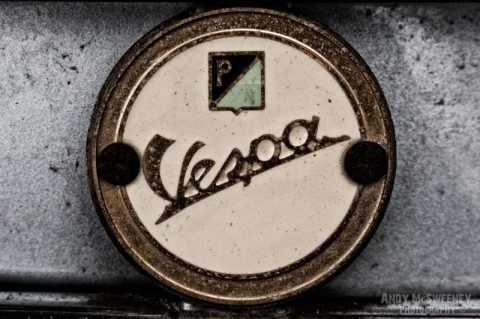 Detail shot of a speedometer on a vintage Vespa scooter during Mod Days Brugge, Belgium