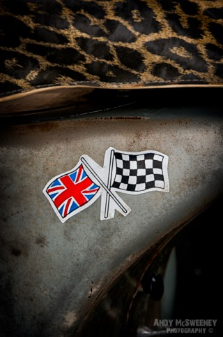 A flag sticker on the side of a Vespa scooter during Mod Days Brugge, Belgium